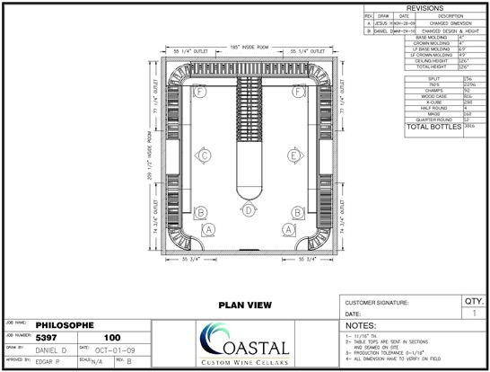 Custom Wine Cellar Los Angeles California CAD drawing (plain view)