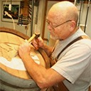 Wine Barrel Carving at Work