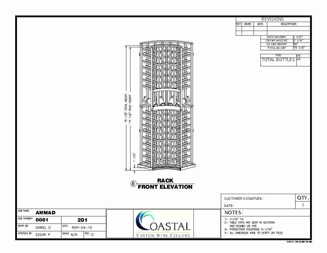 Custom Wine Rack Baltimore Maryland Front Elevation CAD Drawing