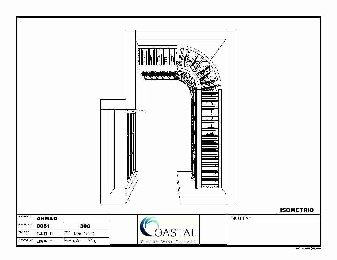 Custom Wine Storage Baltimore Maryland Isometric Plan View CAD Drawing