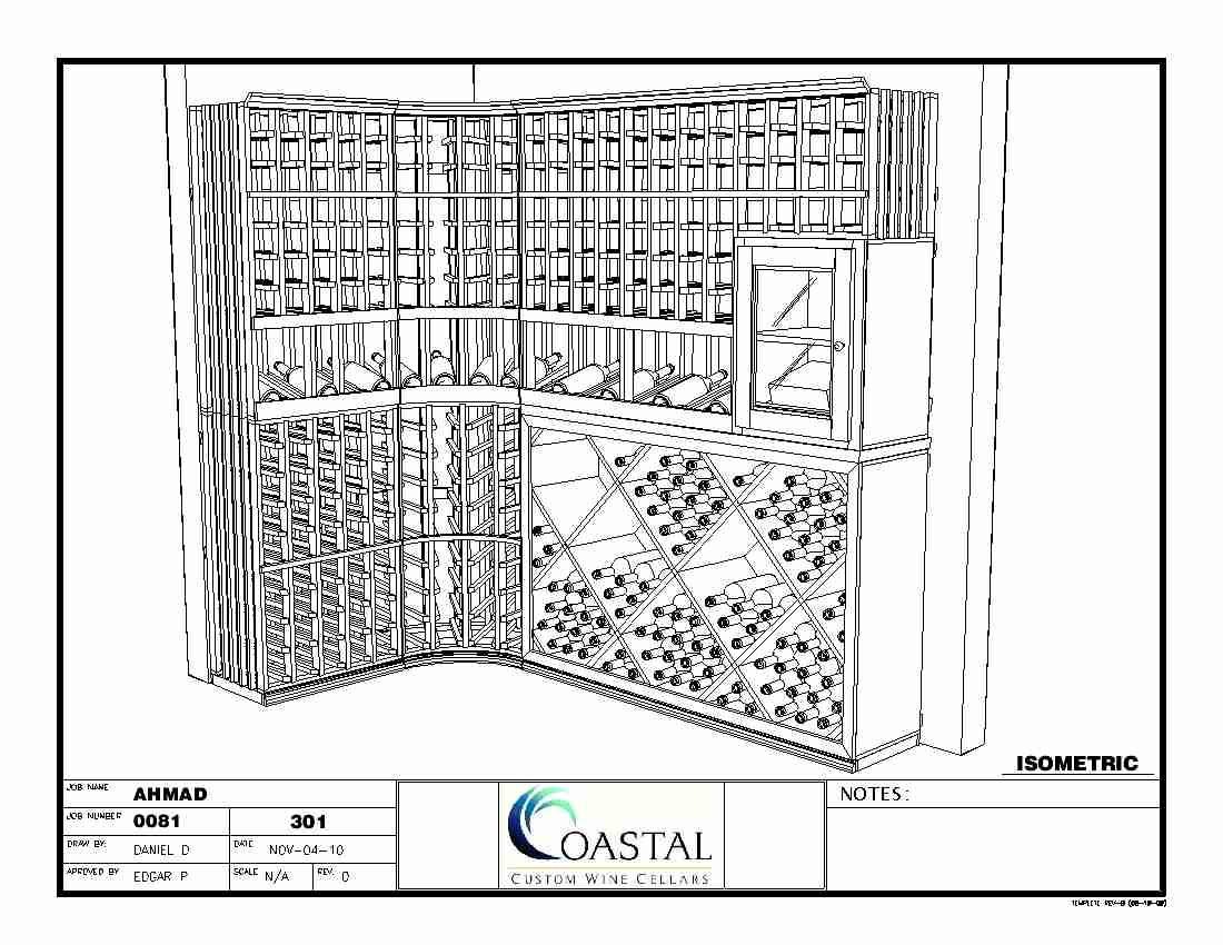 Custom Wine Storage Baltimore Maryland Isometric Front 3D View CAD Drawing