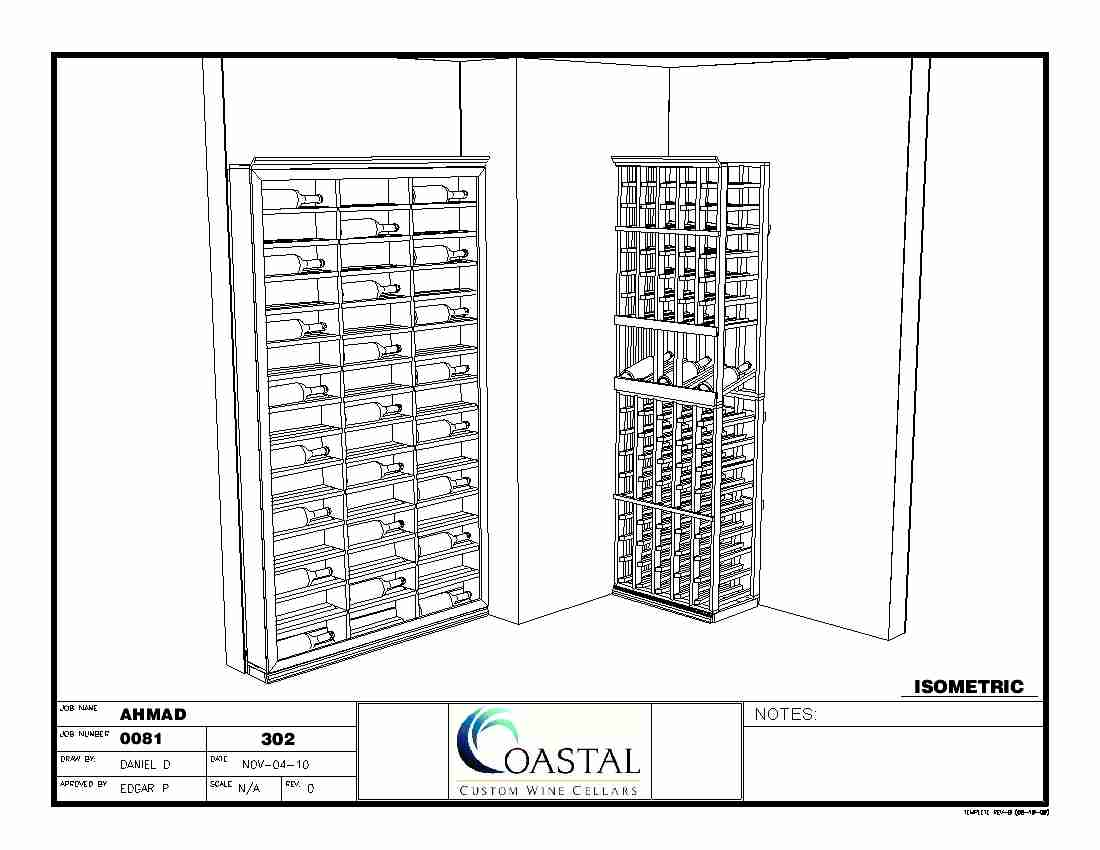 Custom Wine Racks Baltimore Maryland Isometric 3D View CAD Drawing