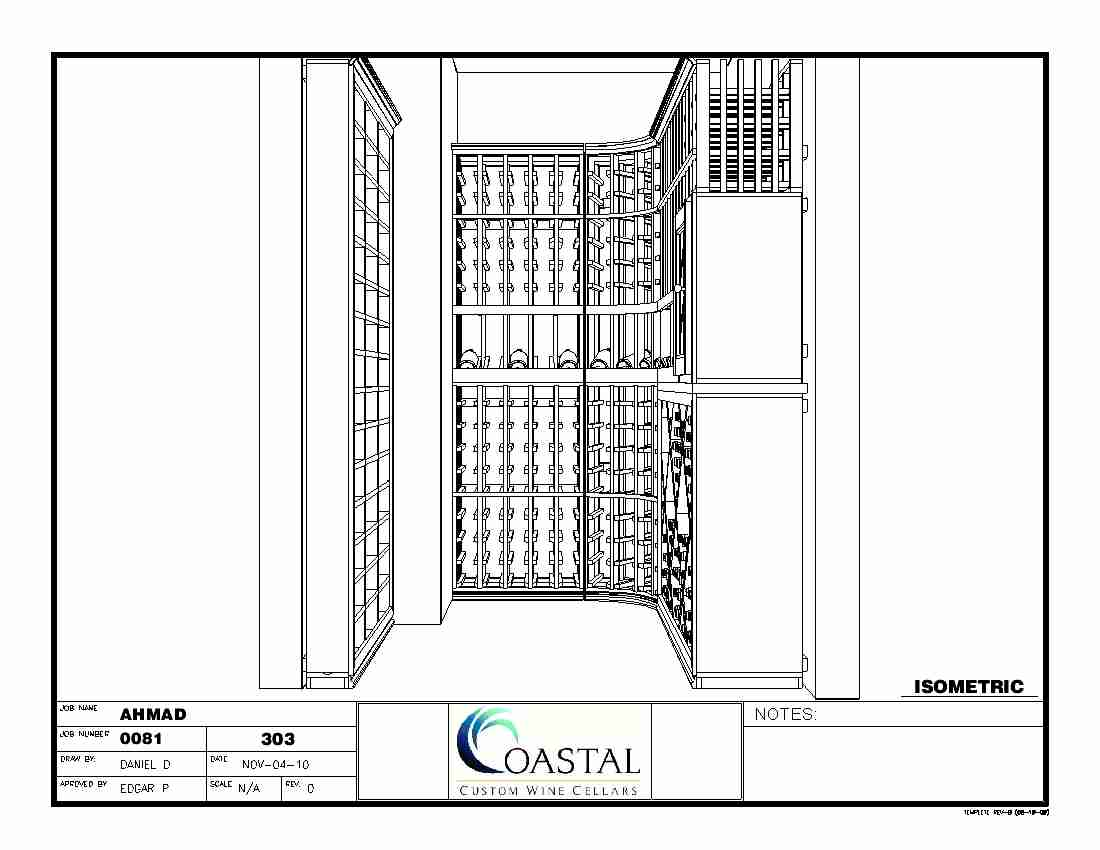 Custom Wine Racks Baltimore Maryland Isometric End View CAD Drawing