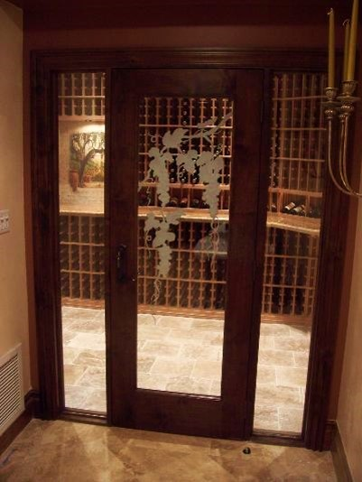 Barolo Wine Room and Cellar Door with Custom Etching and Sidelights