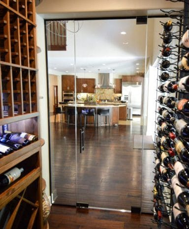 Custom Wine Cellar with Insulated Frameless Glass Door