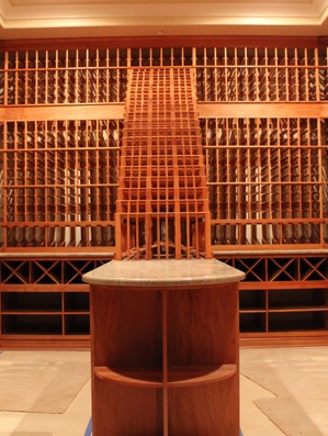 Custom Wine Cellar Los Angeles California waterfall and cascade wine rack with table top