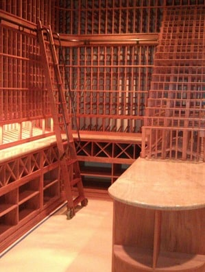 Custom Wine Cellar Los Angeles California library style rolling ladder