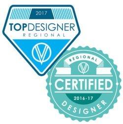 2017 Certified Regional Designer Badge and 2017 Top Regional Designer Badge awarded to Coastal Custom Wine Cellars by Vintage View