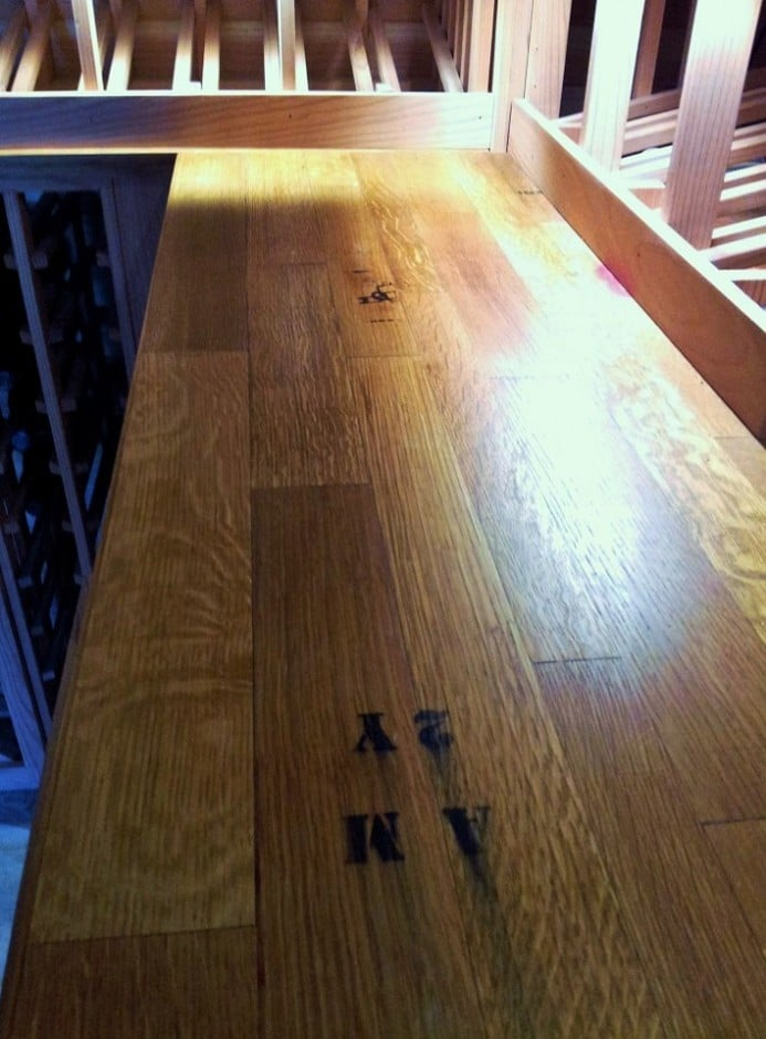 Wine Cellar countertops were custom constructed from 10 year old Napa Valley Oak Wine Barrels