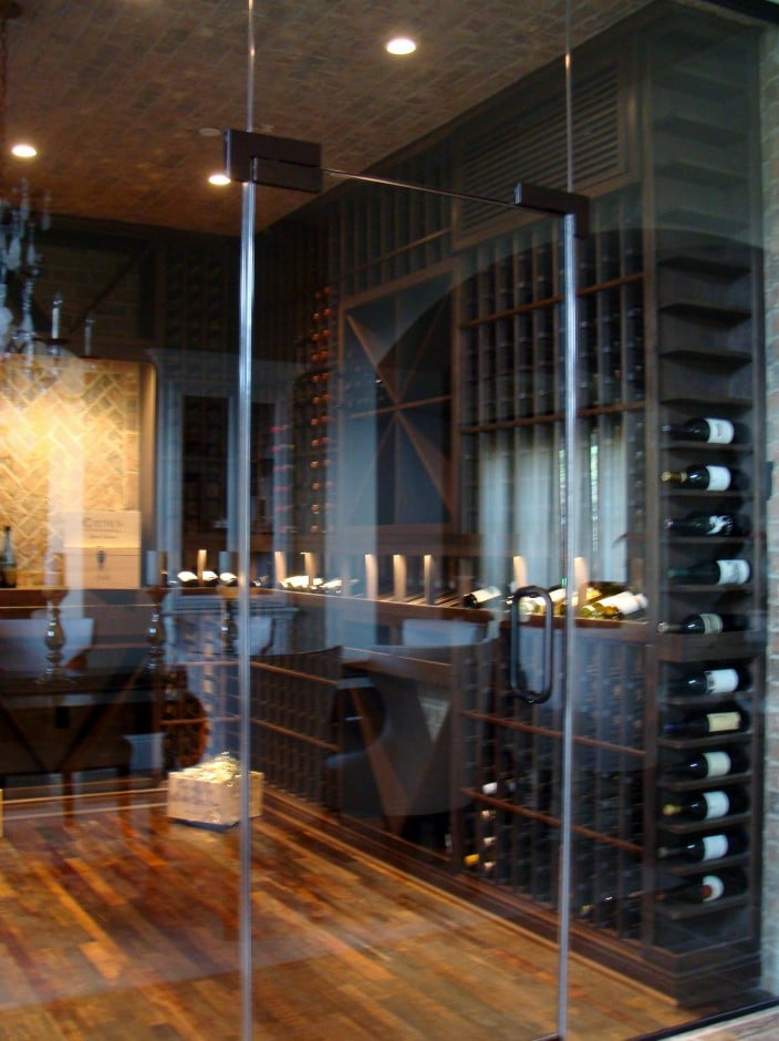 Herculite Wine Cellar Door and Wine Racks Design