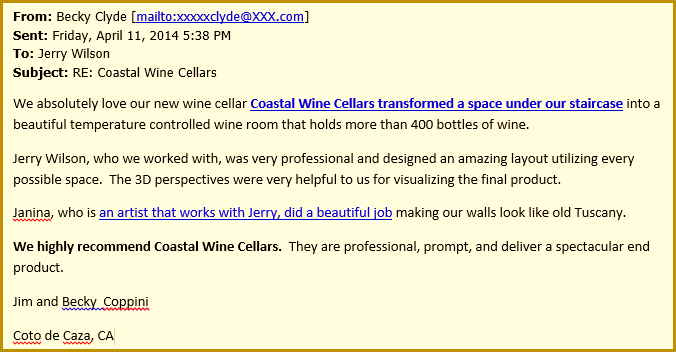 Becky Clyde - We Love Our California Wine Cellar Designed by Coastal
