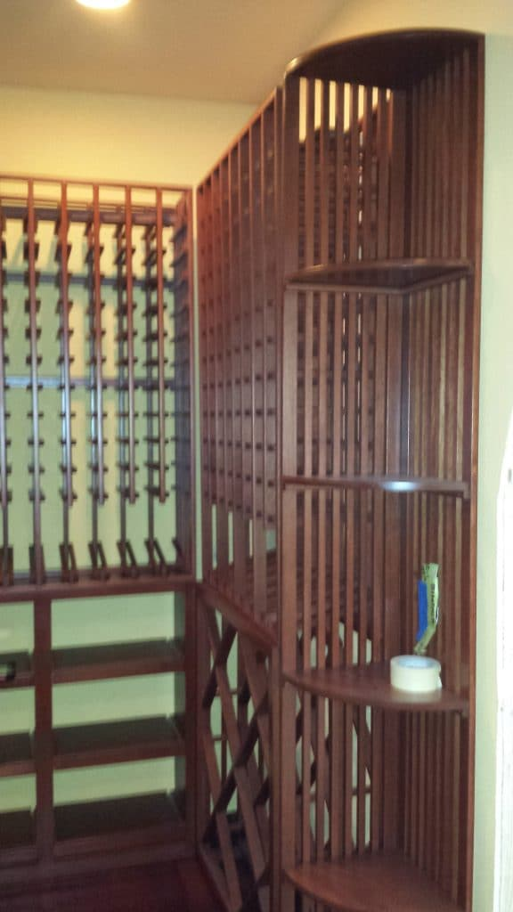Irvine Binder California wine cellar installation  Quarter Round display racks