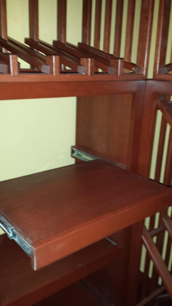 Irvine Binder California wine cellar installation_Roll Out Wood Case Shelf