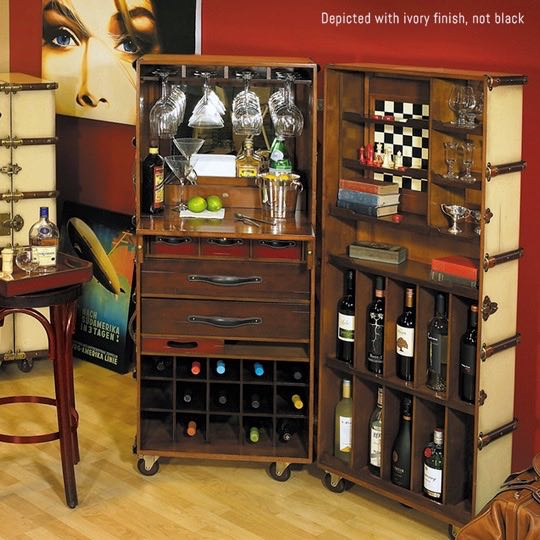 Le Cache Wine Furniture_Chalk _Stateroom Bar Black Finish, #15361