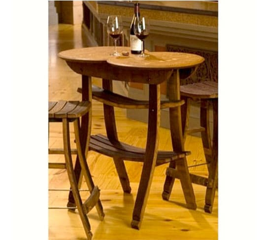 15. Wine Barrel Stave Table and 2 Stools, #2957