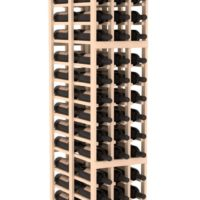 6-foot, three-columned standalone Pine Double Deep Wine Rack Kit that can hold a large quantity of wine bottles