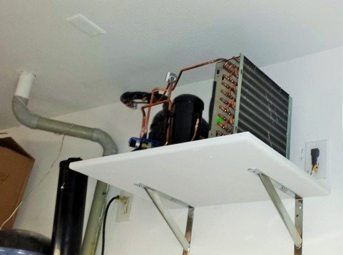 Condenser Placed in the Garage