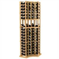45-bottled standalone 3 Column 6 Ft Curved Corner Display Wood Wine Rack Kit in Natural Stain