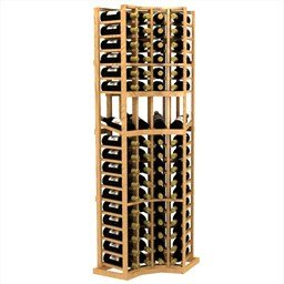 6 ft four column curved corner display wood wine rack