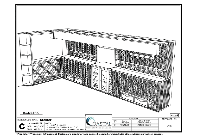 3D Design California Home Wine Cellar Project