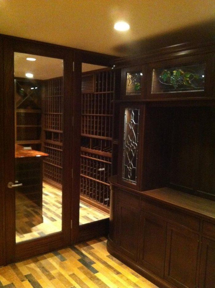 Glass Wine Cellar Door with Wooden Frame