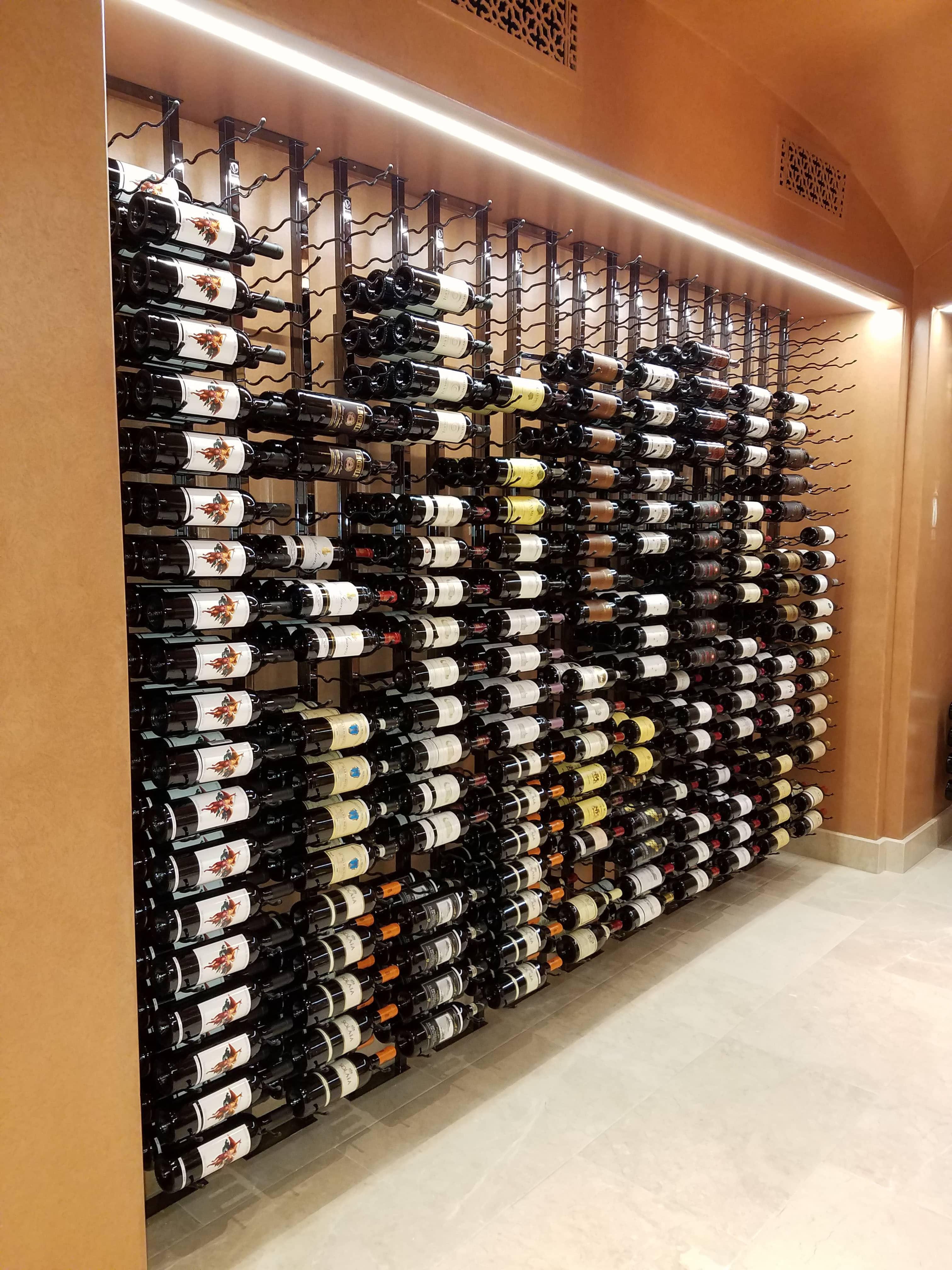 A Stunning Floor To Ceiling Metal Wine Rack Display In Irvine